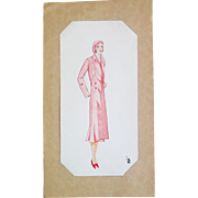 Art Deco Fashion Croquis, Ink and Watercolor, Monogram LB (1930s)