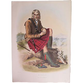Hand Colored Clan Costume Print, Robert McIan 1847