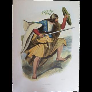 "Hand Colored Scottish Clan Costume Litograph, London 1847, ""Ferguson"""