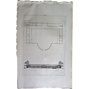 Antique Architectural Print (1721), Andrea Palladium Villa by John Harris the Helder