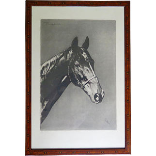 Horse Etching, Numbered Edition, Framed and Glazed, Beautiful Marquetry Frame, Midcentury