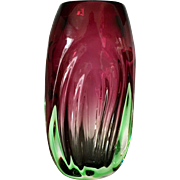 Cranberry and Green Vase, Midcentury