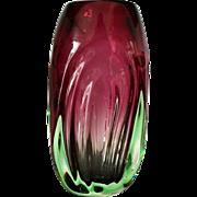 Cranberry and Uranium Vase, Midcentury