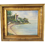 Painting, Seaside with Tower, mid century