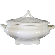 French White Stoneware Lidded Soup Tureen with Ornate Handles, early 1900s