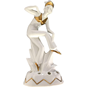 Art Deco porcelain statuette of a dancer,  1920s-1930s, Günthersfeld