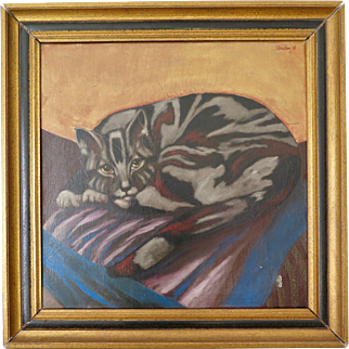 "Oil on Canvas ""Cat"" by George van Herwaarde (Dutch, 1938 - 2011), 1978"
