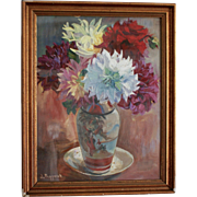 Oil on Board, Colorful Dahlias in Japanese Vase, Early 1900s, Signed, Glazed and Framed