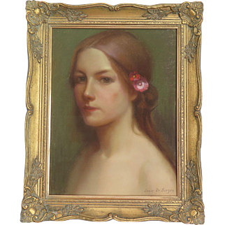 Pastel Painting by Louis de Sager (1908-1991) in Art Nouveau Frame