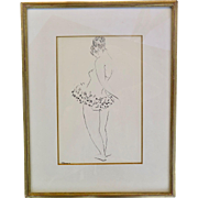 """Drawing, """"Ballerina"""", pencil and ink on paper, signed (unidentified), framed and glazed, XX Century"""