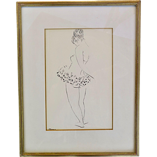 "Drawing, ""Ballerina"", pencil and ink on paper, signed (unidentified), framed and glazed, XX Century"