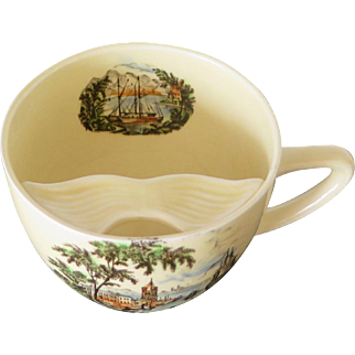 Staffordshire Mustache Cup with Harbor Scene, Royal Staffordshire Ceramics, early XX Century