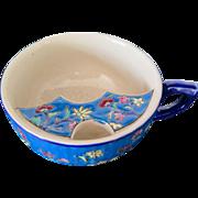 Blue Enamel Mustache Cup, Longwy, Early 1900s