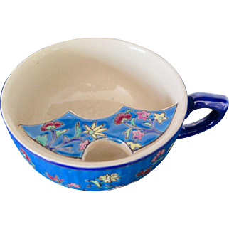 Blue Enamel Mustache Cup, Longwy, Early 1900s