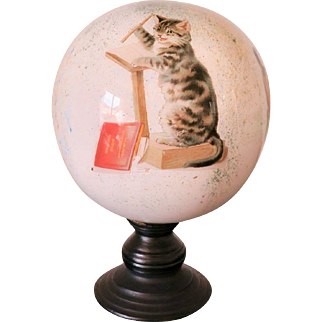 Antique Blown Glass Wig Stand with Cats, England, Victorian Age