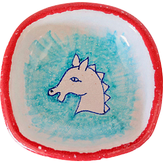 Small Ceramic Bowl with Horse, Made in Italy, Mid Century
