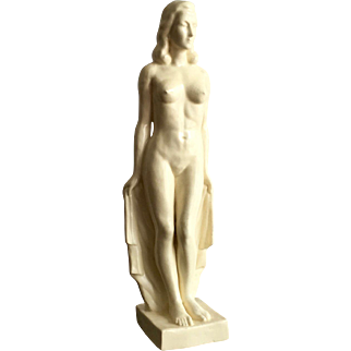 Art Deco Pottery Statue of a Woman, 1930s