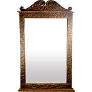 Ancient Order of Druids Wall Mirror, Solid Oak, 19th Century