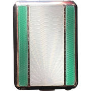 Exquisite Green and White Guilloché Sterling Silver Match Safe, Art Deco, Birmingham 1930s-1940s