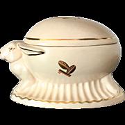 Art Deco Bohemian Porcelain Egg and Rabbit by Royal Dux, 1920s