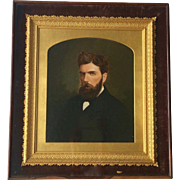 Antique Oil on Board, Portrait of a Gentleman with Beard, 19th Century