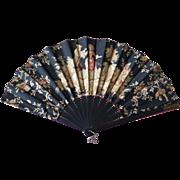 Large Victorian Fan, Black Hand Fan with Romantic Scene, 1800s.