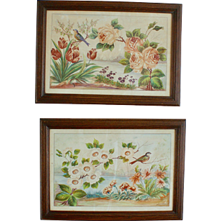 A Pair of Watercolors with Birds and Flowers, Signed and Framed, XIX Century