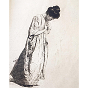 Etching by Erich Wolfsfeld, Japanese woman in graceful praying pose