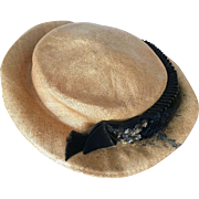 Edwardian Summer Straw Boater Hat, Suffragette Hat, 1900s