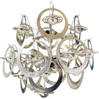 Vintage Space Age Chandelier with Silver Planets, 1960s