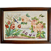 Watercolor with Birds and Flowers by Firmin Berios, Signed and Framed, XIX Century