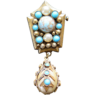 Henry Perichon Brooch or Pendant with Faux Pearls and Turquoise Stones, France 1950s
