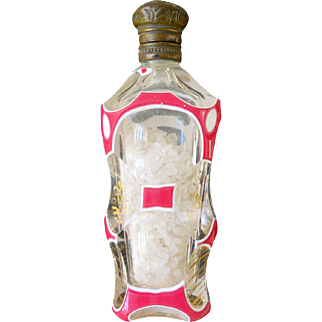 Bohemian Glass Triple Cased Pink and White Perfume Bottle Enamel Cranberry, 1800s