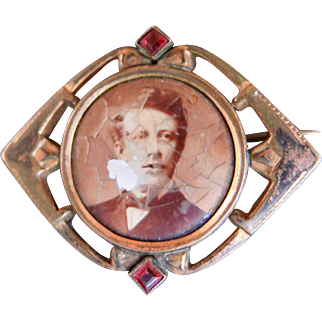 Charles Horner Rolled Gold Photo Brooch, 1800s