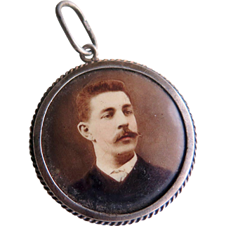 Victorian Photo Pendant of Man with a Mustache, 1800s