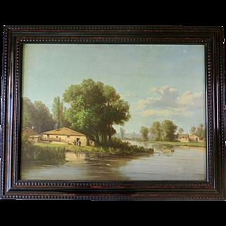 Fine Oil on Canvas, Lake Landscape, France 1850s