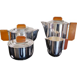 Bauhaus Tea and Coffee Set by Esslingen, 4 Pieces, Germany 1920s