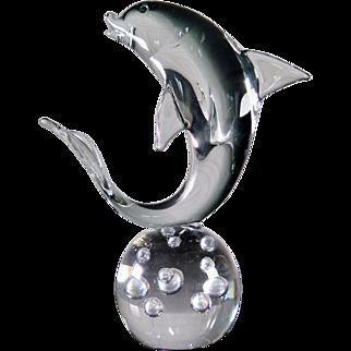 Murano Dolphin Sculpture on a Bubble Glass Ball, Mid Century