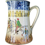 "Royal Doulton Bursleim porcelain jug pitcher ""Falconry"", early 1900s"