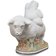 """Ricardo Mesa, bisque porcelain sculpture """"Europa and the Bull"""", signed"""