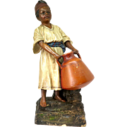 Large Austrian terracotta figure of a water carrier by Johann Maresch, 19th Century