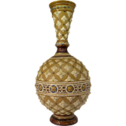 Antique Mettlach stoneware vase with raised floral decoration, c. 1890 - with restoration traces