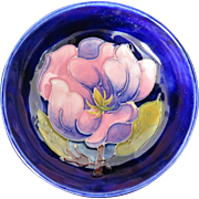 "Moorcroft ""magnolia"" pin dish, pink flower on deep blue background"