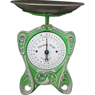 "Jugendstil green scale ""Hausalt wage"", made in Germany end XIX-beginning XX century"