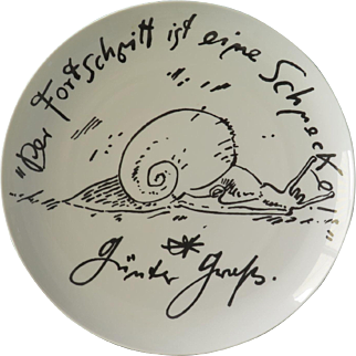 Limited edition artist plate by Rosenthal: Günter Grass, writer