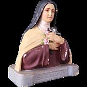 Antique Saint Thèrese de Lisieux chalkware bust