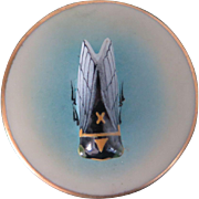 Antique small porcelain box with applied hand painted cicada, French, turn of the century