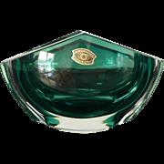 Val St. Lambert crystal emerald green ashtray