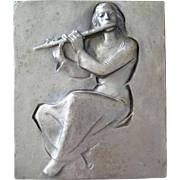 """The flute player"" (Die Flötenspielerin) bas relief  by Heinrich Moshage (1896-1968)"