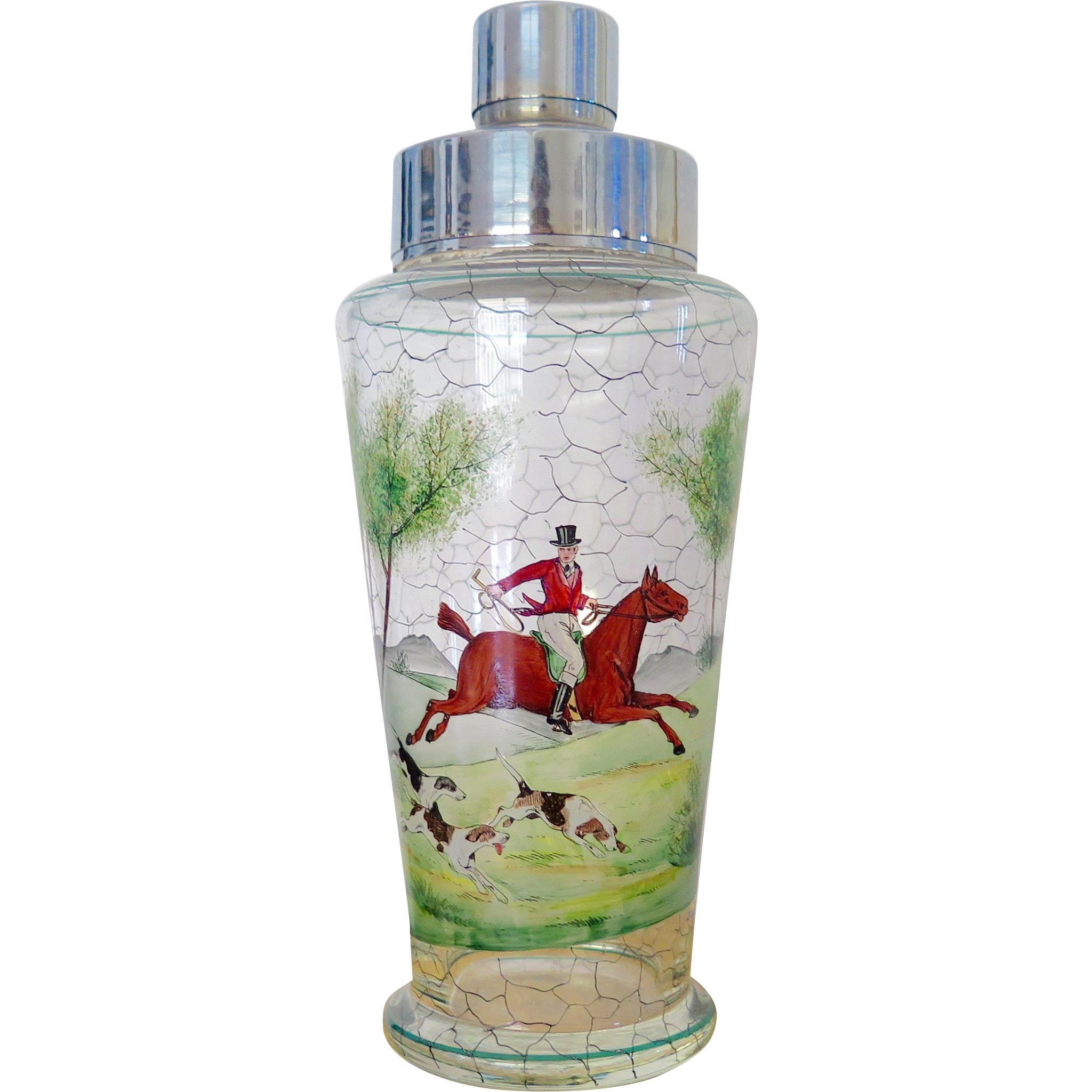 Cocktail shaker with hand painted hunting scenes with rider, horse and dogs, early-mid XX century